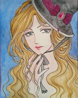 アンニュイな帽子の少女メイキング3.JPG