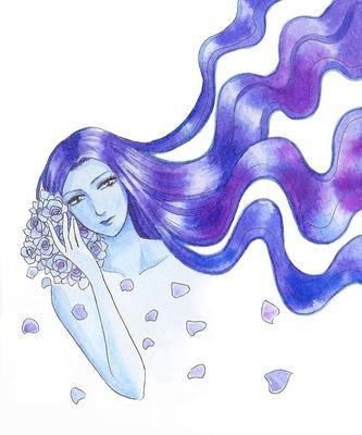 カラーインクで紫の髪と薔薇.jpg