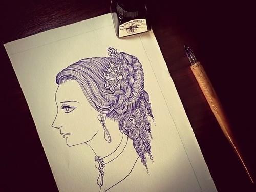 凝った髪型の女の横顔_着色前.jpg