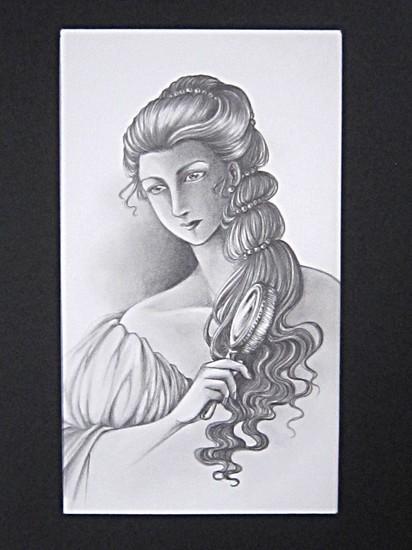 鉛筆画_光の中で髪をとかす女性_1.JPG